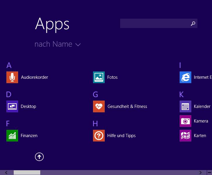 Apps alphabetisch gruppiert