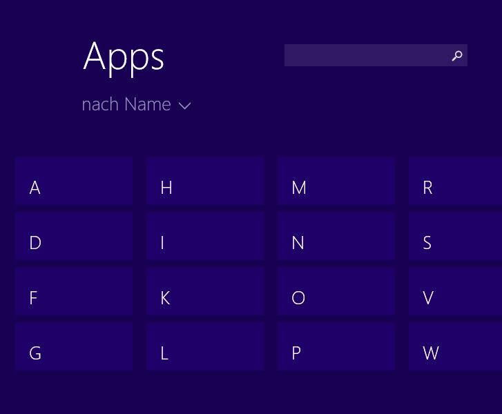 Alphabetische Übersicht der Apps