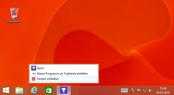 Apps über die Taskbar schließen