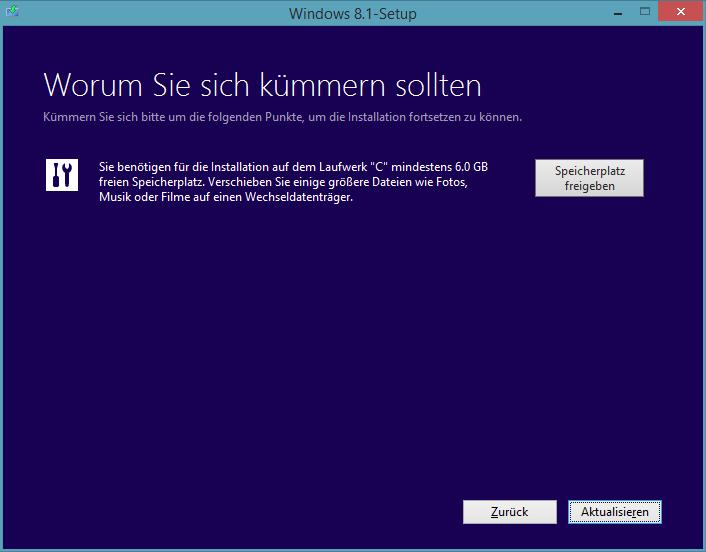 Windows 8.1 Preview-Update: Benötigter freier Speicherplatz