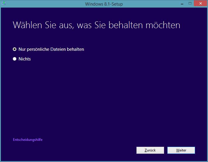 Windows 8.1 Preview-Update: Nur persönliche Dateien behalten
