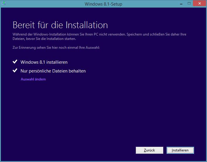 Windows 8.1 Preview-Update-Installation: Nur persönliche Dateien behalten