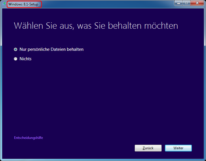 Direktes Windows 7 Update nach Windows 8.1