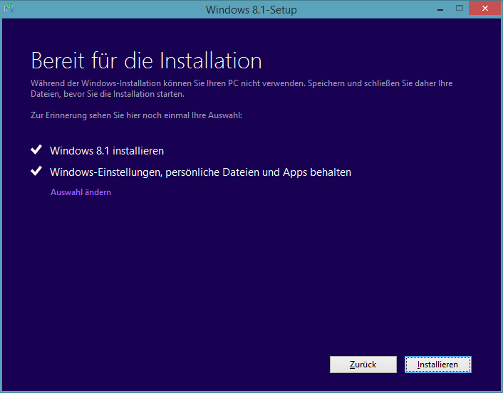 Windows 8.1 Preview-Update-Installation: Windows-Einstellungen und Apps behalten