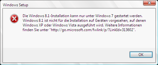 Direktes Windows Vista Update nach Windows 8.1