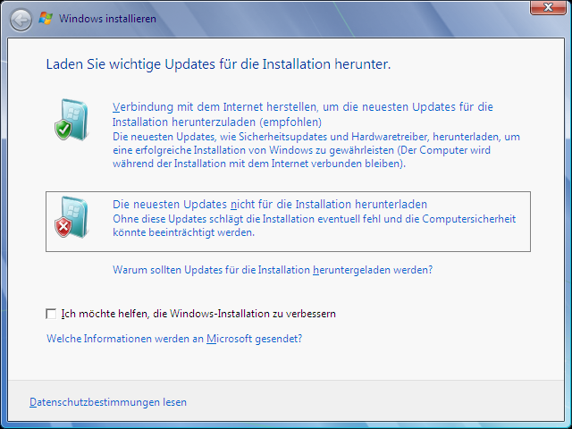 Windows Vista Update nach Windows 7 Schritt 2