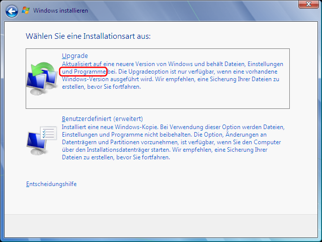 Windows Vista Update nach Windows 7 Schritt 4