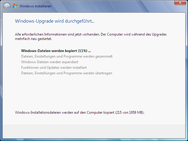 Windows Vista Update nach Windows 7 Schritt 5