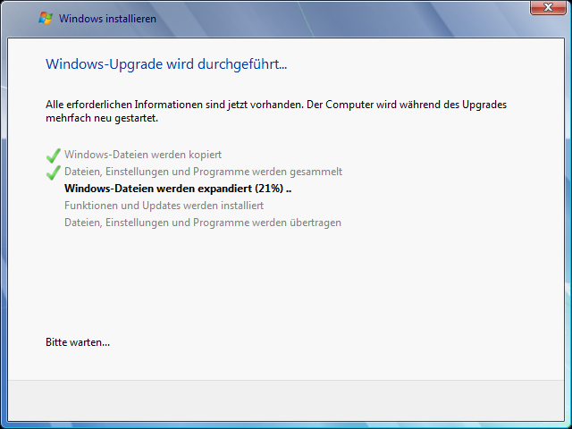 Windows Vista Update nach Windows 7 Schritt 6
