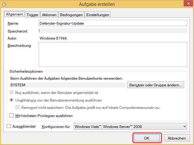 Aufgabenplaner importierte XML-Datei