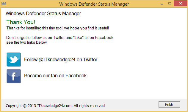 Defender Status Manager beenden