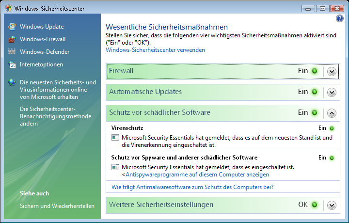 Vista Microsoft Security Essentials im Sicherheitscenter